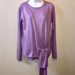Lumiere Crew Neck Faux Wrap Lavender Sweater Med